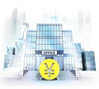 Yuan coin in front of office building as business city concept render Stock Illustration