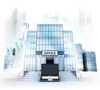 new laptop in front of office building as business city concept render - stock illustration