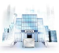 email message in front of office building as business city concept render - stock illustration