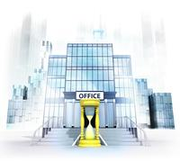 Golden hourglass in front of office building as business city concept render Stock Illustration
