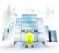 idea lightbulb in front of office building as business city concept render - stock illustration