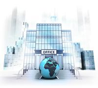 Afrika world globe in front of office building as business city concept Stock Illustration