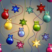 New year pattern with christmas tree toys. ball and star. beads garland Stock Illustration