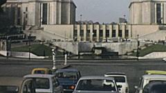 Paris 1975: heavy traffic at Trocadero Stock Footage