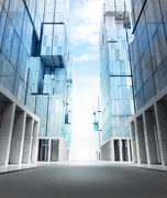 Empty new modern business city street perspective view illustration Piirros