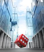 Stock Illustration of red fortune dice in new modern business city street illustration