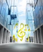 golden music sound of new modern business city street illustration - stock illustration