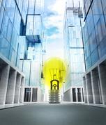 yellow light bulb in new modern business city street illustration - stock illustration
