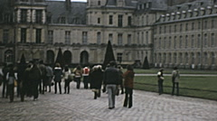 Paris 1975: people entering Palace of Fontainebleau Stock Footage