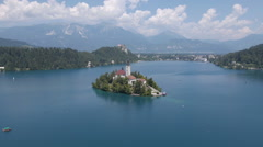 Aerial - The Bled island Stock Footage