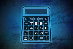 magic calculator on blue shiny pixel grid screen modern technology - stock illustration