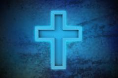 Magic cross on blue shiny pixel grid screen modern technology illustration Stock Illustration