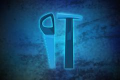 Magic tools on blue shiny pixel grid screen modern technology illustration Stock Illustration
