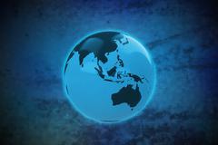 asia earth globe on blue shiny pixel grid screen modern technology illustrati - stock illustration