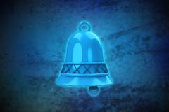 magic bell on blue shiny pixel grid screen modern technology illustration - stock illustration