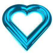 isolated glassy blue heart shape front view illustration - stock illustration