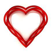 red glassy tube shaped heart artwork  isolated on white illustration - stock illustration