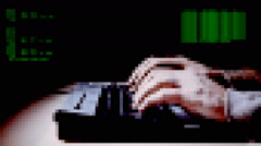 Hacker keyboard code pixelated - stock footage