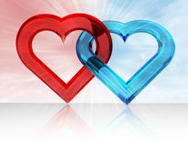 Red and blue glassy heart together in sky flare  illustration Stock Illustration