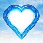 blue glassy shaped heart artwork  in sky flare illustration - stock illustration