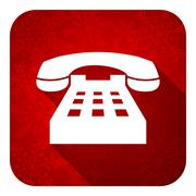 phone flat icon, christmas button, telephone sign. - stock illustration