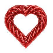 red glassy tube shaped heart isolated on white illustration - stock illustration