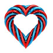 red and blue glassy tube shaped heart isolated on white illustration - stock illustration