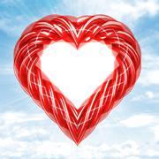 Red glassy tube shaped heart in sky flare illustration Stock Illustration