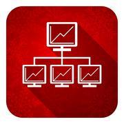 network flat icon, christmas button, lan sign. - stock illustration