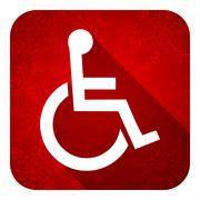 Wheelchair flat icon, christmas button. Stock Illustration