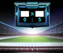 football stadium with score screen collection number 05 illustration - stock illustration