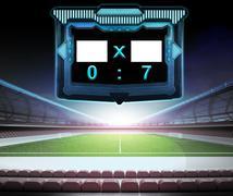 Football stadium with score screen collection number 07 illustration Stock Illustration