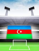 azerbaijan flag banner in modern football stadium background illustration - stock illustration