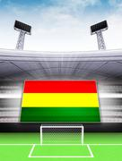 bolivia flag banner in modern football stadium background illustration - stock illustration