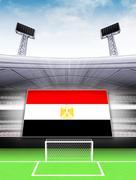egypt flag banner in modern football stadium background illustration - stock illustration