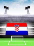 Croatia flag banner in modern football stadium background illustration Stock Illustration