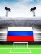 Russian flag banner in modern football stadium background illustration Stock Illustration