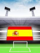 spain flag banner in modern football stadium background illustration - stock illustration