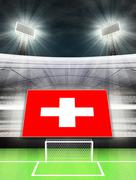 switzerland flag banner in modern football stadium background illustration - stock illustration
