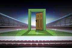 Open door to world of football in midfield of stadium illustration Stock Illustration