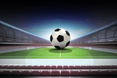 Football ball in midfield of magic stadium own design illustration Piirros
