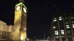 Time lapse tilt shot traffic in front of Big Ben Stock Footage