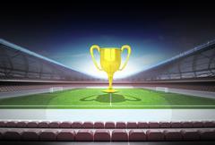 Champion cup in midfield of magic football stadium illustration Stock Illustration