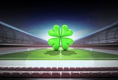 Happy game sign in midfield of magic football stadium illustration Piirros