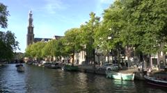 Westerkerk and canal view in Amsterdam, Netherlands. Stock Footage