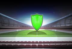 green shield in midfield of magic football stadium illustration - stock illustration