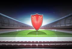 Red  shield in midfield of magic football stadium illustration Stock Illustration