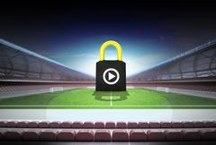 Defensive play as padlock concept in magic football stadium illustration Piirros