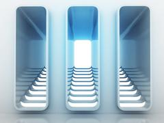 Stock Illustration of three staircase way choice in blue light design render illustration