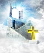 Holy access on top with gate entrance and stairway illustration Stock Illustration